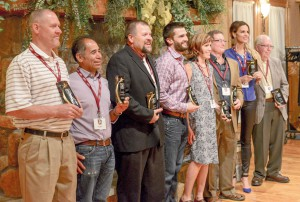 The group of inductees pose for a photo with their awards after the inaugural Berthoud Sports Hall of Fame dinner and awards ceremony on May 29, 2014. John Gardner/ the Surveyor
