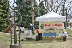 Kieth Hancock, owner of Poppin' Kettle Drum, will be allowed to vend his kettle corn curbside at Fickel Park, but not inside the park's boundaries.  May Soricelli/ the Surveyor