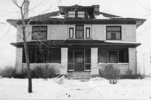 In the winter of 1920 teh home of Dr. and Mrs. D.W. McCarty at 645 Seventh St. was cloaked with snow. The McCartys built the home at the western outskirts of Berthoud in 1916. Photo from the Fickel Collection, Berthoud Historical Society
