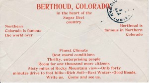 "In 1907, the Berthoud Chamber of Commerce ""boosted"" Berthoud by providing envelopes to local businesses that had a message promoting Berthoud. Dr. S.B. McFarland who had an office in the Kee & Lyon building on Massachusetts Avenue mailed this letter to friends in Fairplay, Colo., on Oct. 31, 1907."