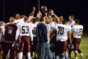 The Spartans celebrate a 41-0 victory over the Valley Vikings in the season opener in Gilcrest, Friday, Aug. 29. Read about the game in Thursday's Berthoud Weekly Surveyor.  John Gardner / The Surveyor