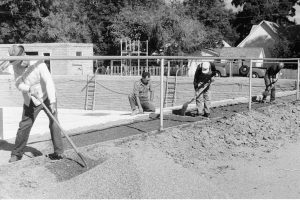 In 1940 local volunteers graded the perimeter of Vernavy Pool in preparation for the installation of concrete sidewalks. The pool measured 100 feet in width and 144 feet in length and was built by community volunteers. Photo courtesy of Berthoud Bulletin Collection/ Berthoud Historical Society