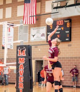 Berthoud's Hannah Atkinson drills another ball at Mead's blockers. Paula Megenhardt / The Surveyor