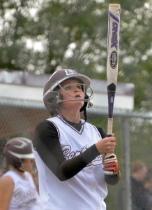 Berthoud's Jessica Boruff steps up to the plate just prior to hitting her second home run of the game, Tuesday at Berthoud High School.  John Gardner / The Surveyor