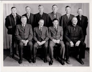 """The Great Western Sugar Company's """"High Ten"""" growers for the 1941 season included (back row right-to-left) Cyriel Darrus, Nels Peterson, Henry Weber, John W. Waggener, Rasmus Jordaner, S.P. Crowley (front row right-to-left) Abe Abrams, Jake Stroh, Howard Binder and S.A. Gray. Photo courtesy of Berthoud Historical Society"""