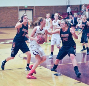 Berthoud's Kristina Cavey charges for the hoop during a contest against Mead last year. Surveyor file photo