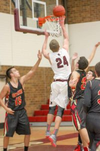 Berthoud's Cody Braesch goes up for a shot against Skyline on Jan. 9. Angie Purdy / The Surveyor