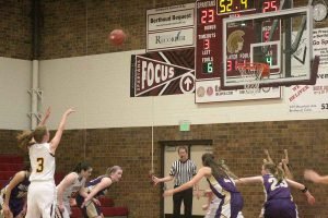 Berthoud's Kristina Cavey shoots a free throw during Tuesday's game against Holy Family.  Karen Fate / The Surveyor