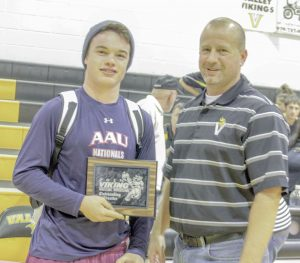 Berthoud's defending state champion Jimmy Fate received the Outstanding Wrestler Award at the 2015 Viking Wrestling Invitational on Jan. 31. Fate defeated 3A No. 2 ranked Joseph Prieto of Holy Family for the second time in a week to receive the award. Karen Fate / The Surveyor