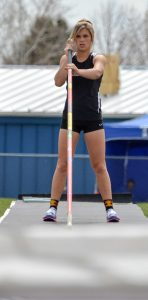 Josie Spitz prepares for her third and final pole vault attempt at 10-feet, 9-inches at the Max Marr Spartan Classic on April 11. Spitz won the event in a jump-off at the same height.  John Gardner / The Surveyor