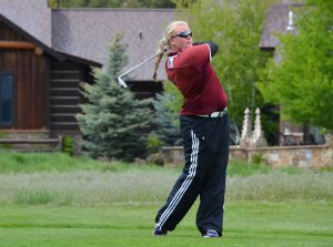 Berthoud's Molli Boruff tees off on the 14th hole at River Valley Ranch in Carbondale Tuesday during the girls 4A State Golf Championship, before rain delayed the tournament for about half-an-hour. Despite the delay, Boruff finished the tournament tied for 44th place. Colleen O'Neil / Special to The Surveyor