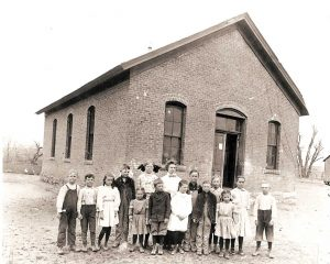"Old Berthoud School"" located on the Little Thompson river bottom was constructed in 1883. The original school district split into two separate districts the year prior when a dispute arose over the location where a new school building should be constructed. Photo courtesy of the Berthoud Historical Society"