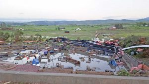 Only the foundation and debris is left at the house located at 2431 Blue Mountain Ave., after the EF3 tornado destroyed it on June 4, along with two other structures and damaging 17 others. Courtesy of Berthoud Fire Protection District / The Surveyor