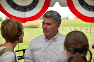 U.S. Senator Cory Gardner talks with reporters after the Northern Integrated Supply Project rally at Northern Water Conservancy District's headquarters in Berthoud on July 2. Gardner was the event's keynote speaker in support of the project that has had significant opposition. But, the event was well attended with nearly 200 people from as far away as Fort Morgan and including all 15 participating members in the project. A Supplemental Draft Environmental Impact Survey was released on June 19 and is open for public comment until Sept. 3.  John Gardner / The Surveyor