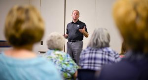 U.S. Representative Jared Polis, D-Colo., speaks to constituents at the Berthoud Community Center on Aug. 8. The Congressman is touring the 2nd Congessional District gathering input before returning to Washington D.C. in September.  John Gardner / The Surveyor