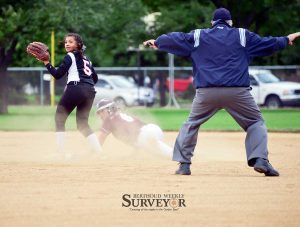 Berthoud's Taylor Armitage is called safe after stealing second base in the Sept. 3 game vs. Roosevelt.  John Gardner / The Surveyor
