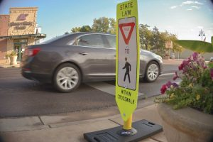 "Local officals are working with the Colorado Department of Transportation to place additional ""Yield to pedestrian"" signs at several intersections along Mountain Avenue in Berthoud. CDOT officials say the signs should be in place in December. John Gardner / The Surveyor"