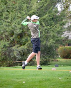 Berthoud's Joshua Schumacher tees off at hole No. 1 at Fox Hill Golf Course in Longmont at the Colorado High School State Golf tournament on Oct. 5.  John Gardner / The Surveyor