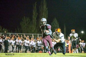 Berthoud wide receiver Jackson Hall eluded an Erie tackle and went on to score the Spartans' go ahead touchdown after receiving a pass from Cody Braesch in the second half of last Friday's game versus Erie at Max Marr Field at Berthoud High School. John Gardner / the Surveyor