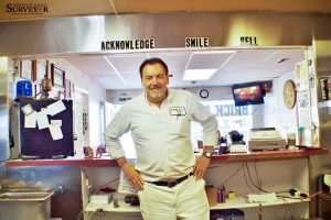 Brick Oven Pizza and Subs owner, Cliff Montano, poses for a photo inside his pizza shop on Mountain Avenue in Berthoud. There's more to Montano than his ability to make great pizza. May Soricelli / The Surveyor