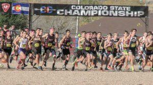 Berthoud's Elijah Grewel, center, begins his state championship run at the Norris-Penrose Center in Colorado Springs on Oct. 31. Grewel finished in 59th place.  Photo courtesy of Kristi Leonard