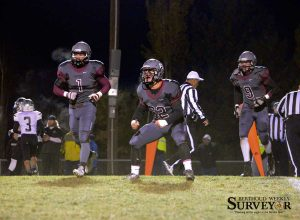 Berthoud defensive lineman Ben Douglas (62) celebrates a Roosevelt fumble that was recovered by Berthoud on the first drive of the game. The result was a Spartans' touchdown. John Gardner / The Sureyor