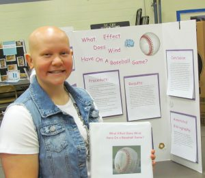 Eighth-grade athlete Ashlynn Balliet explored how wind affects the path of a ball in her TMS Science Fair project. Bob McDonnell / The Surveyor