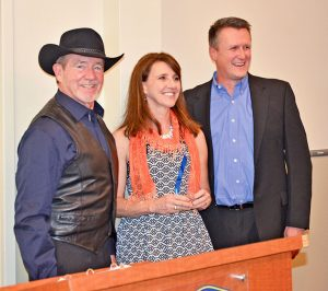 Bruce Fickel presented the Doctors Fickel award to Suzanne and Scott Cavey for their philanthropic endeavors with the Berthoud BASH. Becky Justice-Hemmann / The Surveyor
