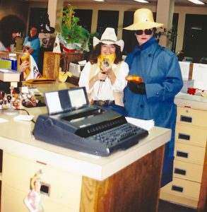 """Verna Covey ,left, on a Halloween several years ago. Covey and company dressed as """"Western Bank Robbers"""" during an annual Halloween party at Berthoud National Banks when it was at the building where Home State Bank is currently. Contributed photo"""