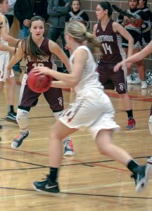 Berthoud's Sydney Meis defends against a Mead opponent at BHS on Jan. 26. The Spartans won the contest 45-32. Karen Fate / The Surveyor