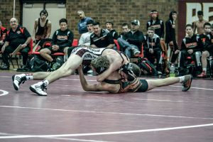 Berthoud's Colin Leypoldt gets the upper hand against his opponent during the dual vs. Erie on Jan. 21. Leypolt ultimately lost his bout but his team dominated Erie 60-16 at Berthoud High School. Karen Fate / The Surveyor