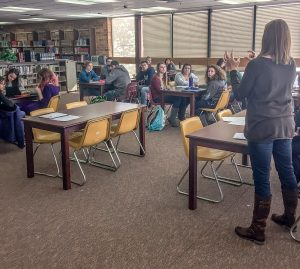 Berthoud High School students generously participate in Give Next meeting during a recent lunch break at BHS. The group's intent is to raise money that will help those in need of housing. Courtesy photo