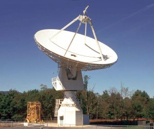 Pictured is the 20-meter dish at the National Radio Astronomy Observatory in Greenbank, W. Va., the students used through a program called Skynet Junior Scholars to study hydrogen (HI) emissions from radio signals from Cassiopeia A, the Crab Nebula, and the Rosette Nebula. Courtesy photo