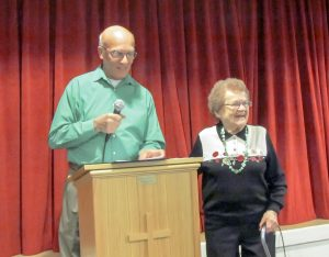 Berthoud United Methodist Church and Stu Boyd honor longtime community volunteer Sam Waldo pictured at the church's annual St. Patrick's Day dinner where Waldo was recognized for her many years of service in the Berthoud community. Bob McDonnell / The Surveyor