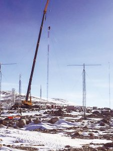 This photo shows the actual radio towers Bullett and Justin Maybie constructed on Antarctica.