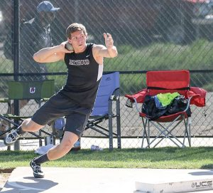 Max Bump throws the shot at the 4A State Track and Field championships at the Jeffco Stadium on May 19-21. Bump finished in fifth place in the event with a throw of 49 feet 10.25 inches. Courtesy photo