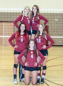 The volleyball team is anchored by talent with Jessa Megenhardt (8), Brooke Thonhoff (3), Sarah Howard (10), Shay Pierick (4) and Hannah Godfrey (5). Paula Megenhardt / The Surveyor