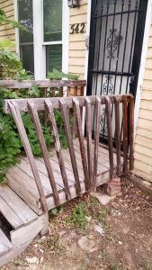 The handrail was unstable and the wood was rotted.