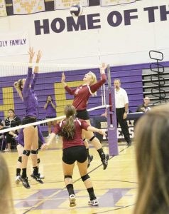 Berthoud setter Jessa Megenhardt goes up for a kill during the contest against Holy Family on Tuesday in Broomfield. Paula Megenhardt / The Surveyor
