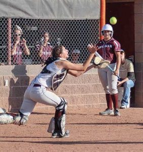 Berthoud catcher Hannah Langer prepares to make the game-winning catch against Golden in game five of the regional softball tournament in Erie on Saturday.  Photo courtesy of Tiffany Rafferty / The Surveyor