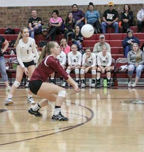 Berthoud's Sarah Howard returns a serve during a contest earlier this year at Berthoud High School. The Spartans have won four straight and six of their last seven contests going into the final weeks of the season.  Photo by Paula Megenhardt