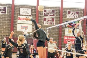 Berthoud's Shay Pierick goes up for a kill against 5A opponents Loveland at the Golden  Tournament at Golden High School in Golden on Oct. 29. Despite losing to Loveland, the Spartans improved to No. 8 in class 4A after winning three of four matches over the weekend. The Spartans host Region 8 competition at Mountain View High School in Loveland starting Friday. Paula Megenhardt / The Surveyor