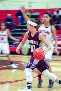 Berthoud's Sydney Meis charges to the basket during the Spartan's contest against Skyline in Longmont on Jan. 6. Angie Purdy / the Surveyor
