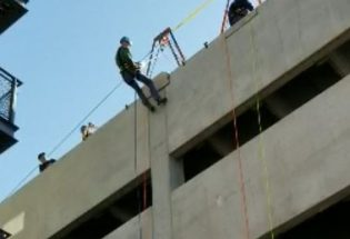 Mayor Will Karspeck goes over the edge