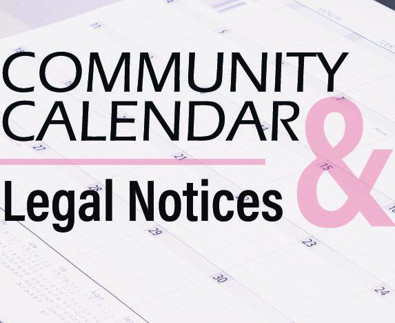 Community Calendar & Legal Notices – March 5, 2020
