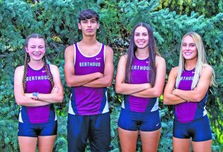Cross Country team racing for state trophy
